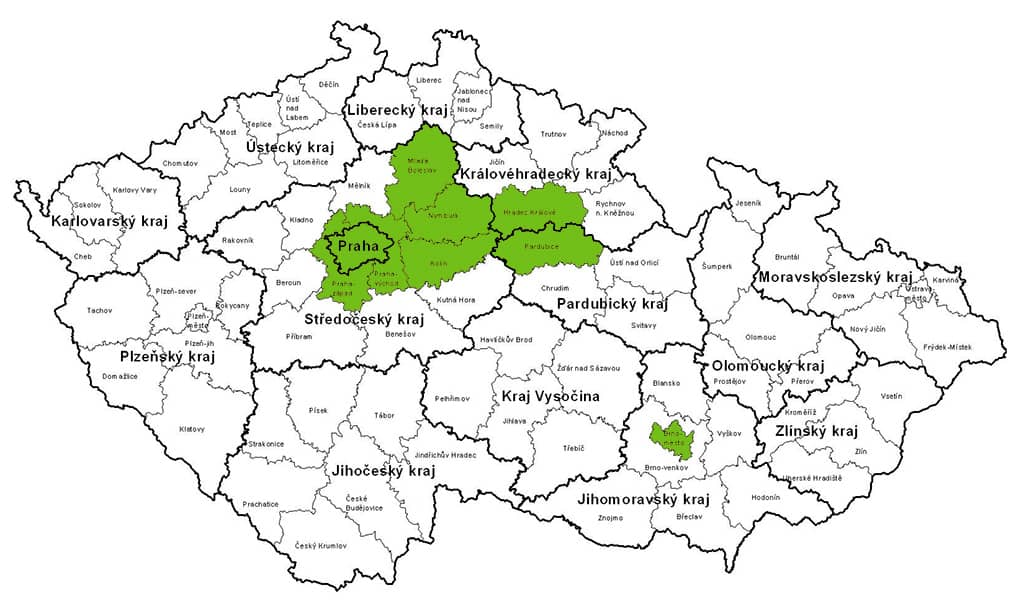 Mapa rozvozů Gastrofresh